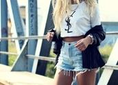 t-shirt,swag,bag,shorts,white t-shirt,logo,brand,ripped,light blue,short shorts,yves saint laurent,High waisted shorts,shirt