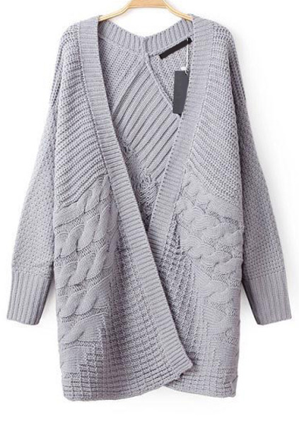 Cable knit loose grey cardigan