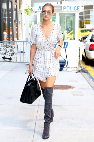 dress wrap dress boots over the knee boots sunglasses purse gigi hadid streetstyle model off-duty summer outfits summer dress shoes