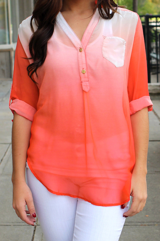 pocket blouse ombre sheer chiffon pull tab sleeve breast pocket buttons