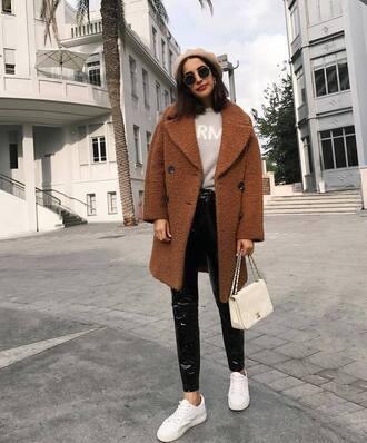 coat tumblr camel camel coat fuzzy coat beret sunglasses bag white bag pants sneakers white sneakers vinyl black vinyl pants