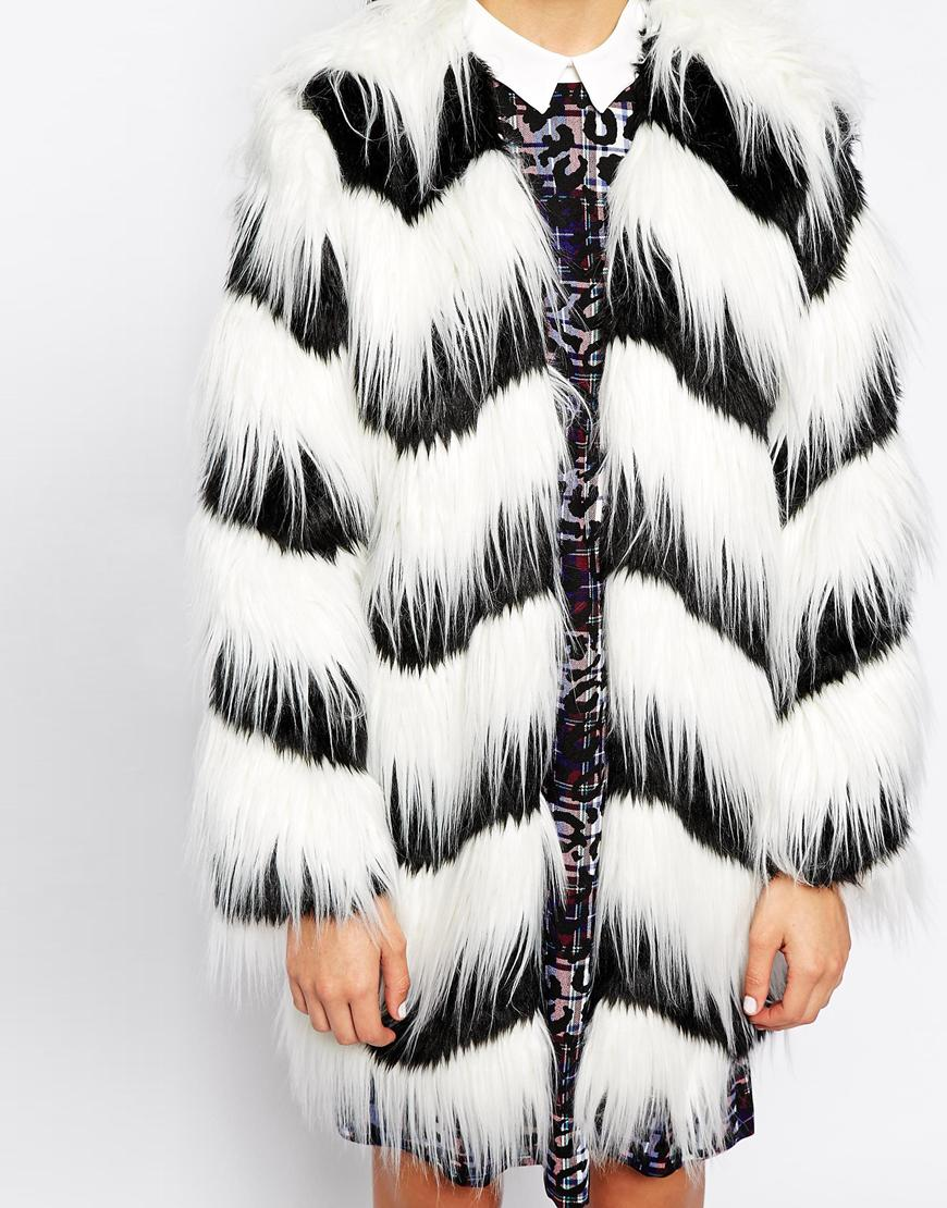 Glamorous Contrast Faux Fur Coat at asos.com