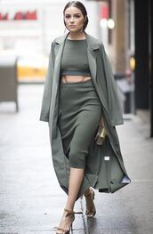 skirt,top,pencil skirt,sandals,olivia culpo,two piece dress set,two-piece,coat,duster coat,midi skirt,crop tops,bodycon,shoes,All military green outfit,ribbed top,green long coat