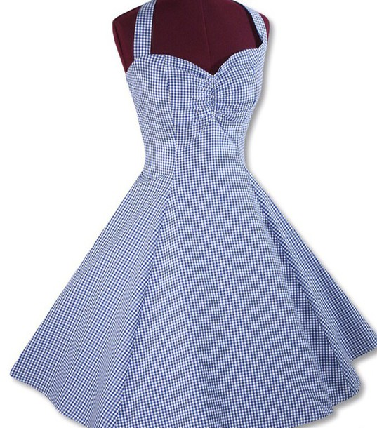 Blue Checkered Dress Dress Check Checker Checkered