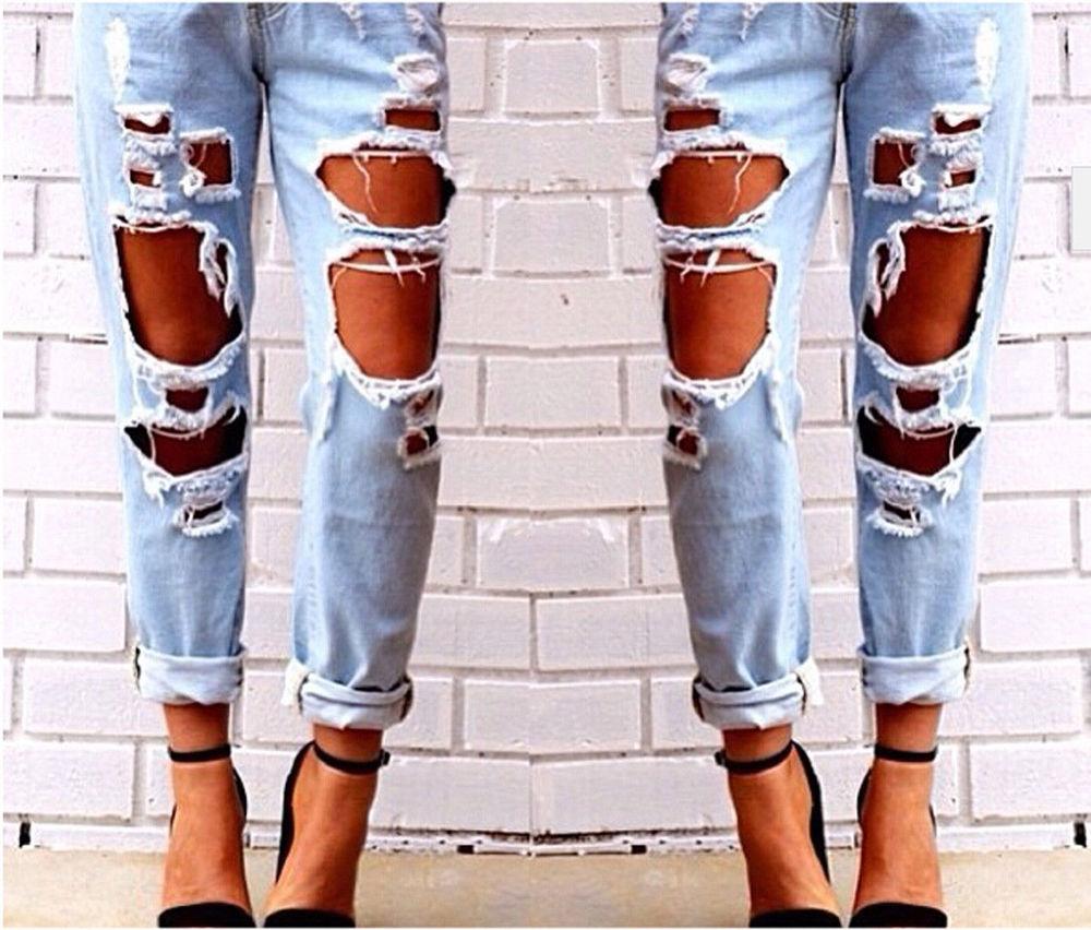 High Waist Destroyed Ripped Distressed Denim Harem Pants Boyfriend ...
