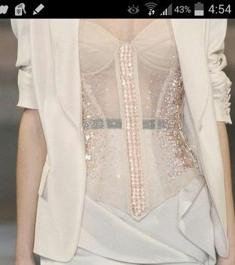 blouse corset top nuetral nude top lingerie pants sheer bustier
