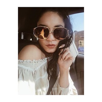 blouse vanessa hudgens sunglasses peasant top instagram