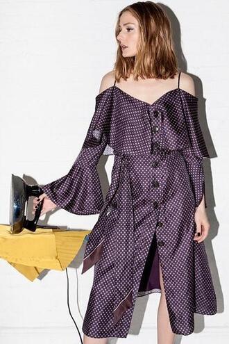 dress plum off the shoulder off the shoulder dress olivia palermo blogger midi dress editorial