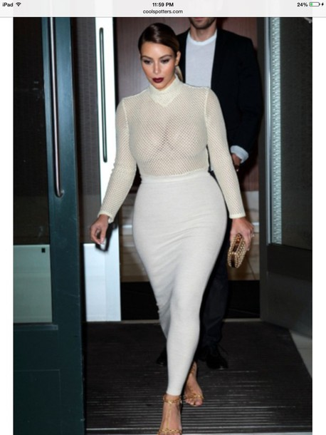 skirt kim kardashian kardashians mesh sandals red lipstick shirt