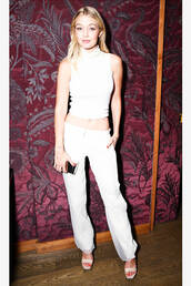 pants,fashion week 2014,gigi hadid,white