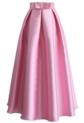 skirt bowknot pleated full maxi skirt in pink chicwish mixi skirt pink skirt pleated skirt bowknot skirt