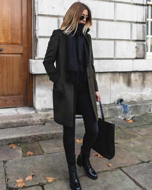 coat black boots black jeans winter scarf sunglasses black bag