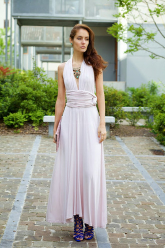 from brussels with love blogger dress maxi dress blue heels