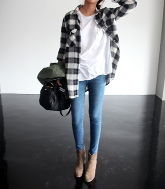 shoes jeans flannel white t-shirt black purse boots beige blouse