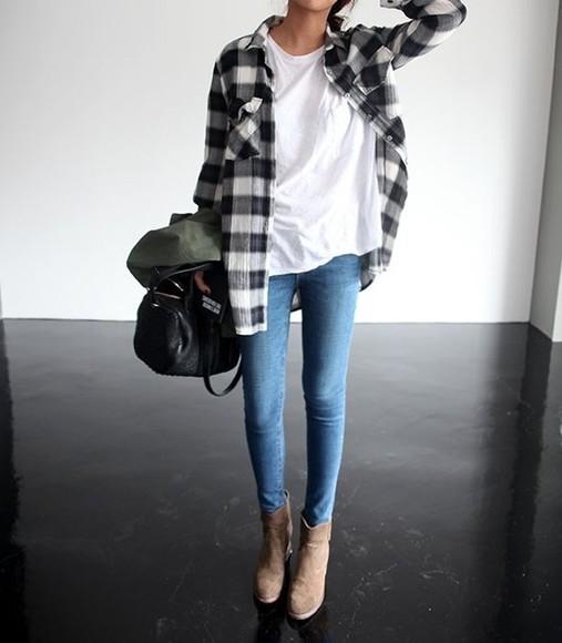white tee jeans shoes flannel black purse boots beige blouse