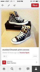 shoes,high top converse,black,chettah print,spikes