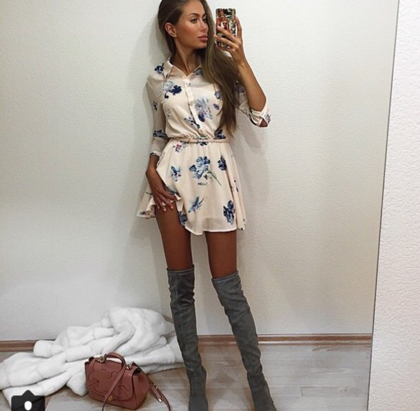 dress floral dress mini dress t-shirt dress belt floral knee high boots cream silk