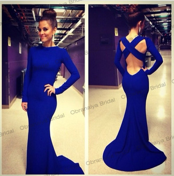 Aliexpress.com : Buy Elegant Long Sleeve Mother Daughter Prom Dresses Criss Cross Royal Blue Mermaid Evening Dress 2014 OB0002 from Reliable dress tiger suppliers on Obranaiya Bridal
