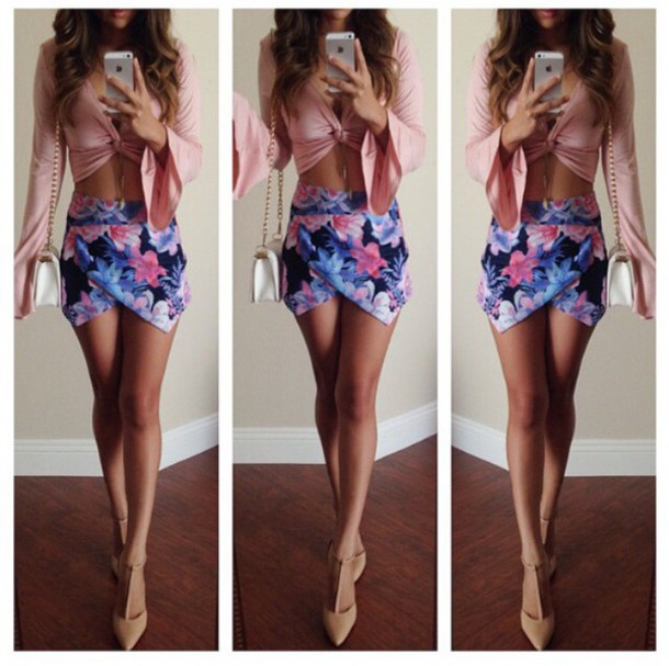 flowered shorts skirt shoes blouse preppy preppy fashionist crop tops shirt floral skirt blue skirt colorful