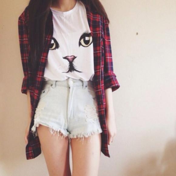 flannel shirt t-shirt cat shirt cats cute tshirt