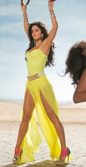 dress,neon yellow,katrina kaif,maxi dress,slit maxi skirt,slit dress,bollywood,shoes