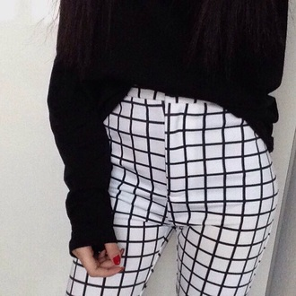 pants white high waisted black print black and white grid white pants high waisted pants