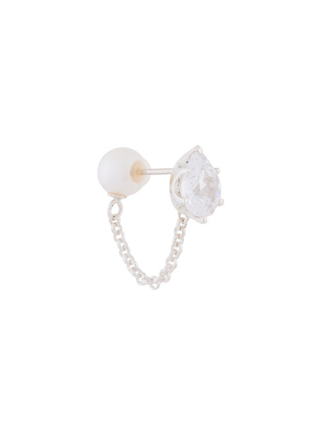 E.M. women pearl silver grey metallic jewels