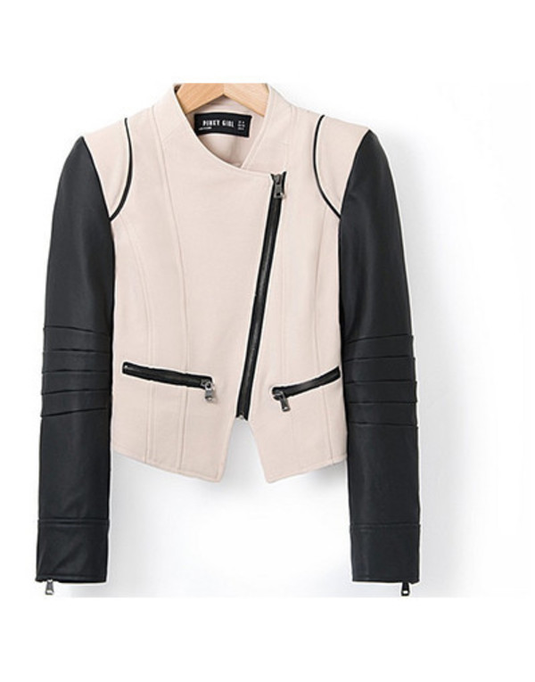 jacket fall outfits beige crop leather jacket