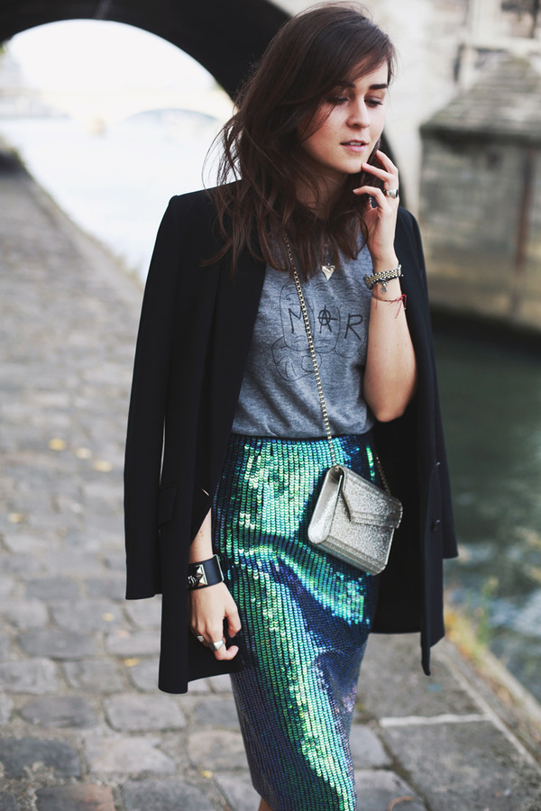 style scrapbook blogger t-shirt jewels jacket bag mermaid skirt shoes
