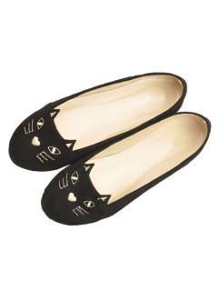 Black cute cat pattern flat shoes