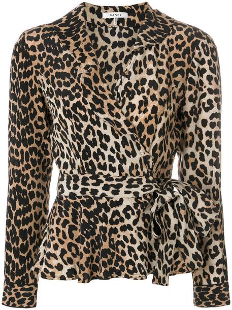 Ganni top wrap top women nude print silk leopard print