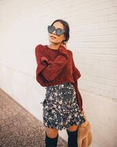 sweater,knit,knitwear,knitted sweater,rust,skirt,mini skirt,floral,floral skirt