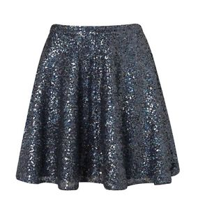 TOPSHOP Blue Sequin Skater Full Skirt Size 6 8 10 12 14 Brand New Flippy RRP£45 | eBay