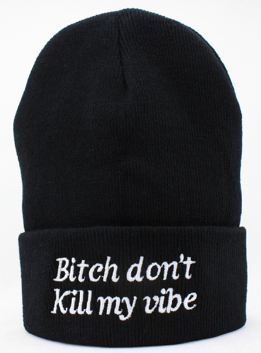 17c82dbdabc Amazon.com   Hot Funny Winter Warm Bitch Don t Kill My Vibe Knit Beanie Hat  for ...