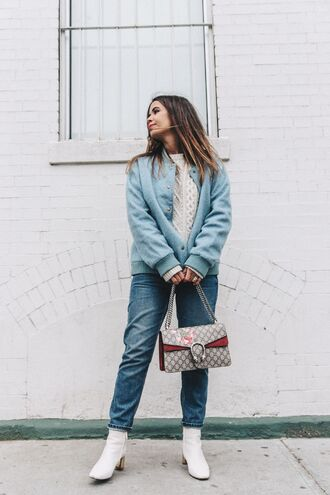 jacket jeans tumblr bomber jacket blue jacket sweater white sweater cable knit white cable knit sweater denim blue jeans boots ankle boots bag chain bag gucci gucci bag