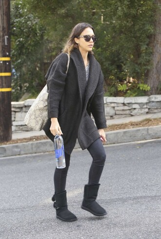 cardigan coat jessica alba fall outfits boots