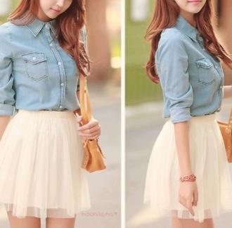 skirt shirt bag cream skirt jeans high waisted skirt flowy skirt spring look petite cute outfits white cute skirt dress blouse shot girl fashion pants