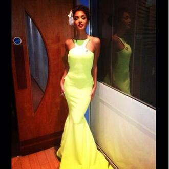 dress nicole scherzinger yellow neon yellow prom dress gown sleveless dress yellow prom dress yellow dress xfactor x factor uk long prom dress gorgeous girly beautiful