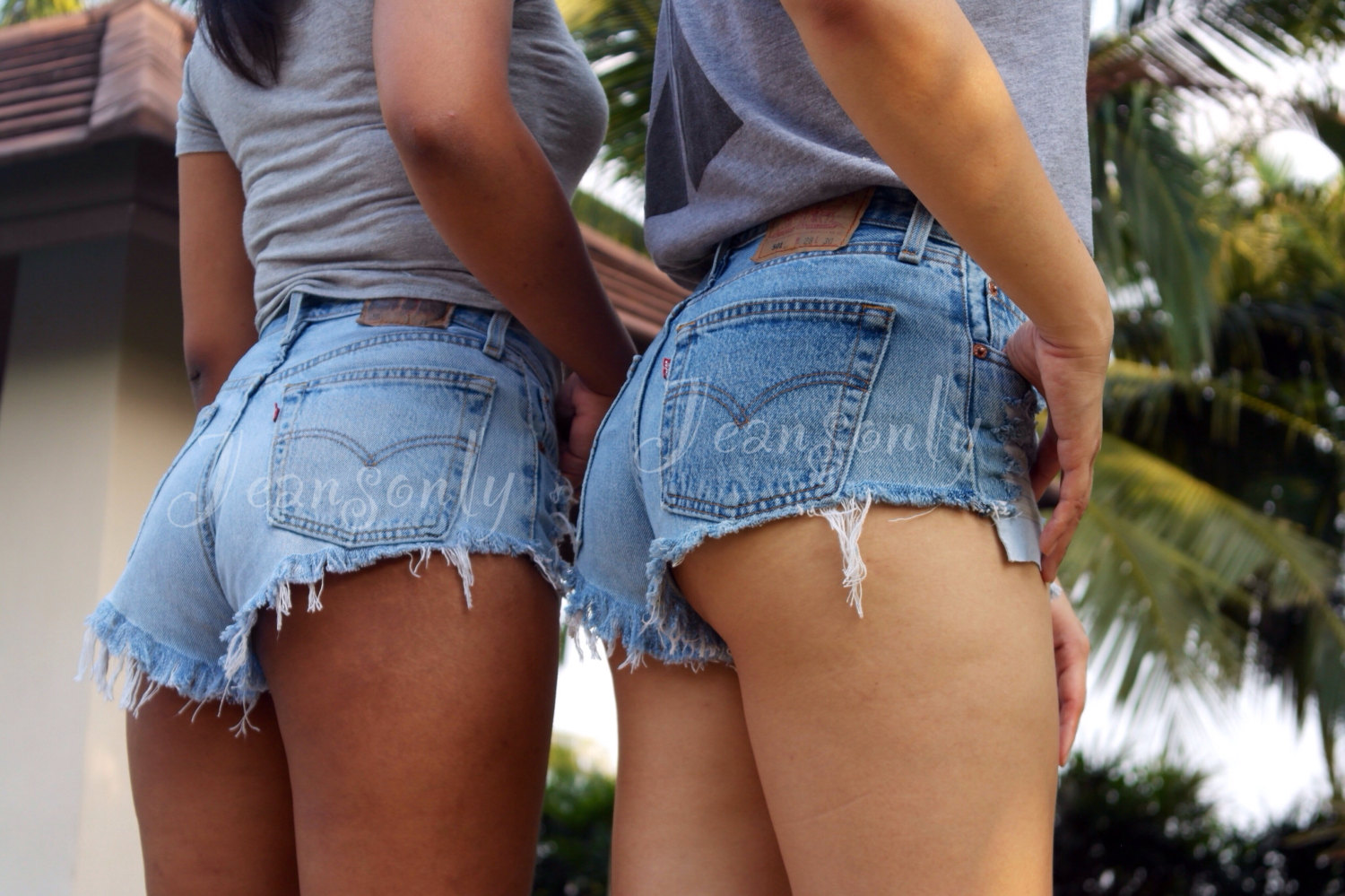 image Candid ass cheeks in tight textured short shorts