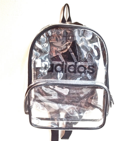 90's Clear Adidas Large PVC See Through by FeelingVagueVintage