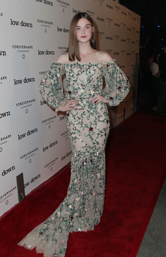 dress elle fanning floral maxi dress
