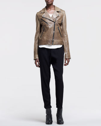Rag & Bone Bowery Leather Motorcycle Jacket, Fleet High-Low Top & Relaxed Tapered Drawstring Trousers - Neiman Marcus