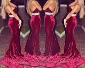 dress,red,velvet,elegant,long,strapless