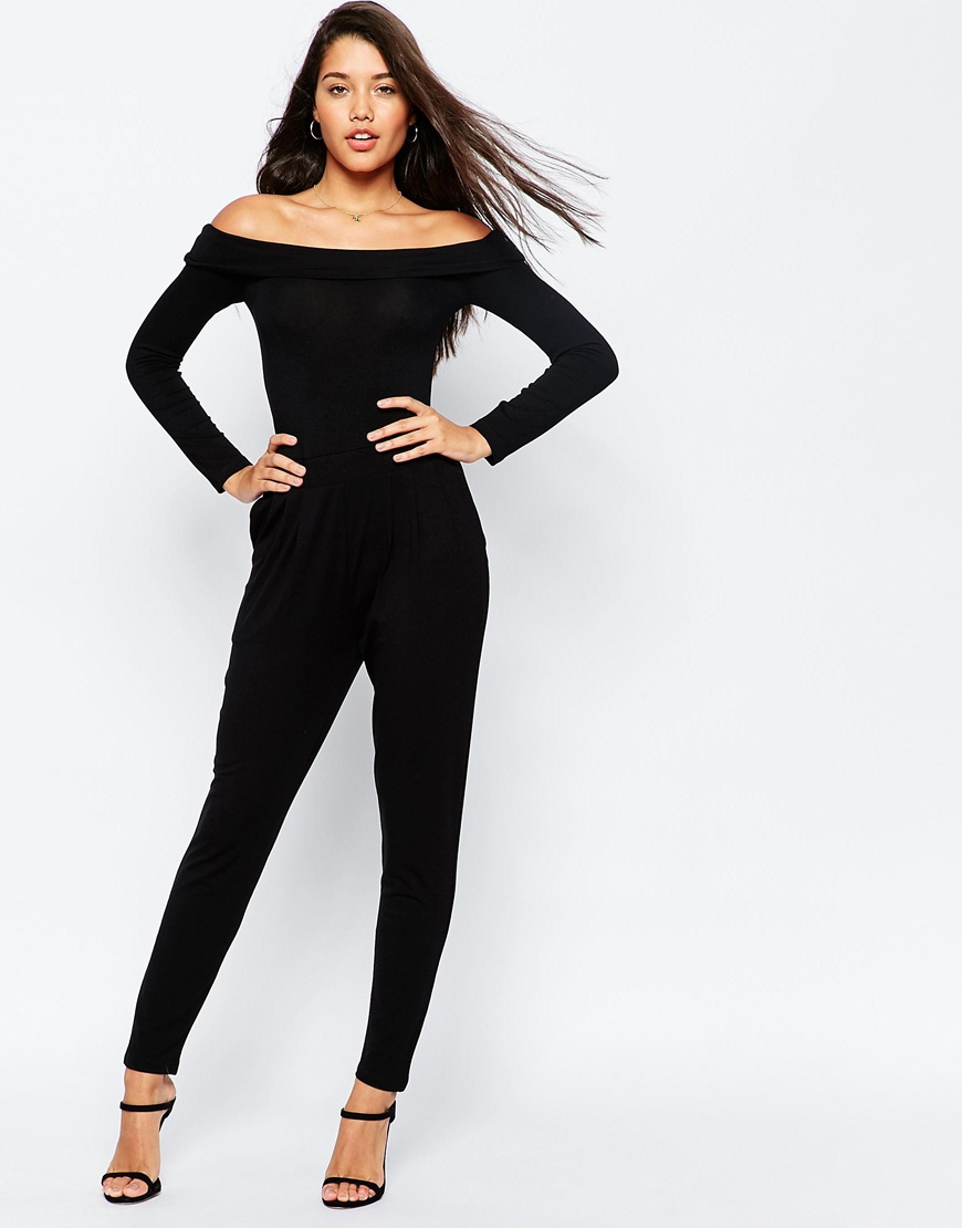 united kingdom special selection of preview of ASOS Bardot Peg Leg Jersey Jumpsuit with Long Sleeve at asos.com