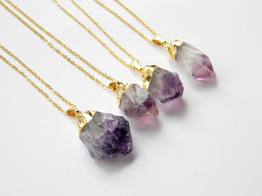 Amethyst Point Necklace - Amethyst Crystal Necklace - Gold Necklace - Bohemian Necklace - Gift - OOAK
