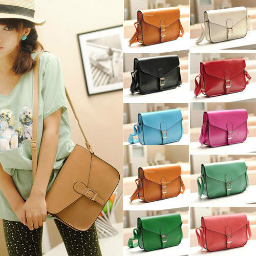 Fashion Womens PU Leather Crossbody Satchel Shoulder Messenger Bag ...
