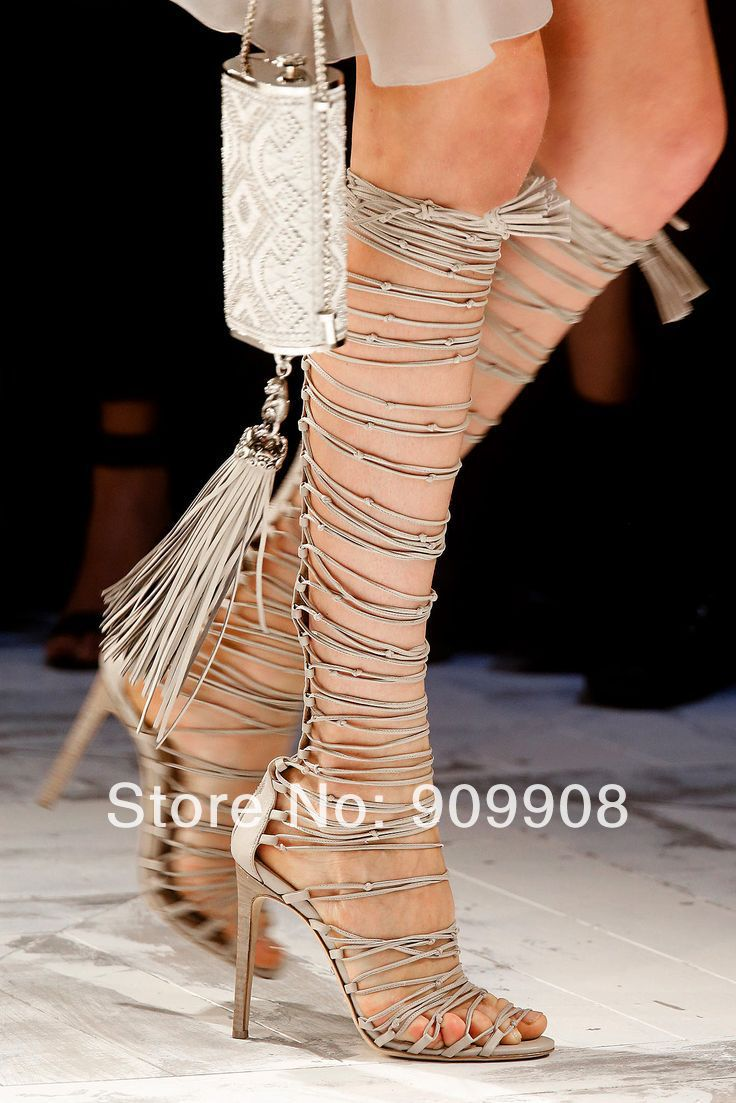 Summer 2014 Sandals Strappy Lace Up Sandals Over The Knee high ...