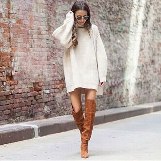 dress tumblr sweater dress oversized turtleneck sweater over the knee boots brown boots suede boots sunglasses white dress fall outfits winter outfits winter look white oversized sweater