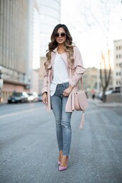maria vizuete,mia mia mine,blogger,sunglasses,bag,pink coat,pink bag,white top,grey jeans,ripped jeans,baby pink high heels