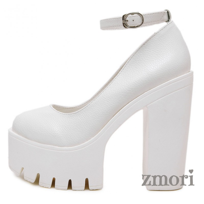 fd1172e42eb White Chunky Cleated Platforms Sole Block High Heels Mary Jane ...